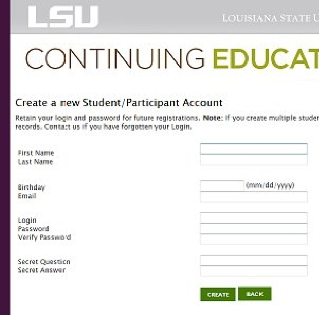 Screen shot of sign up form
