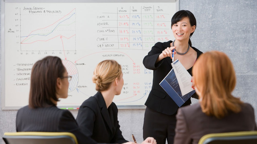 A female education leader stands in front of a whiteboard and points to three female members of her team.