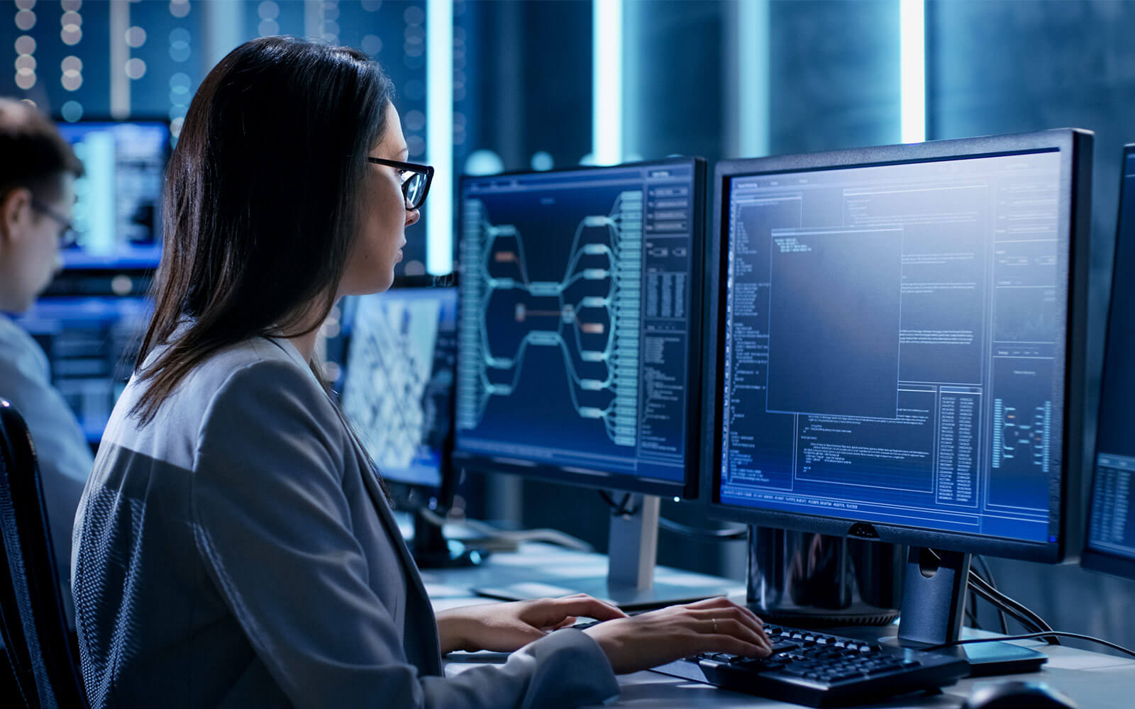 AWS technician working on computer