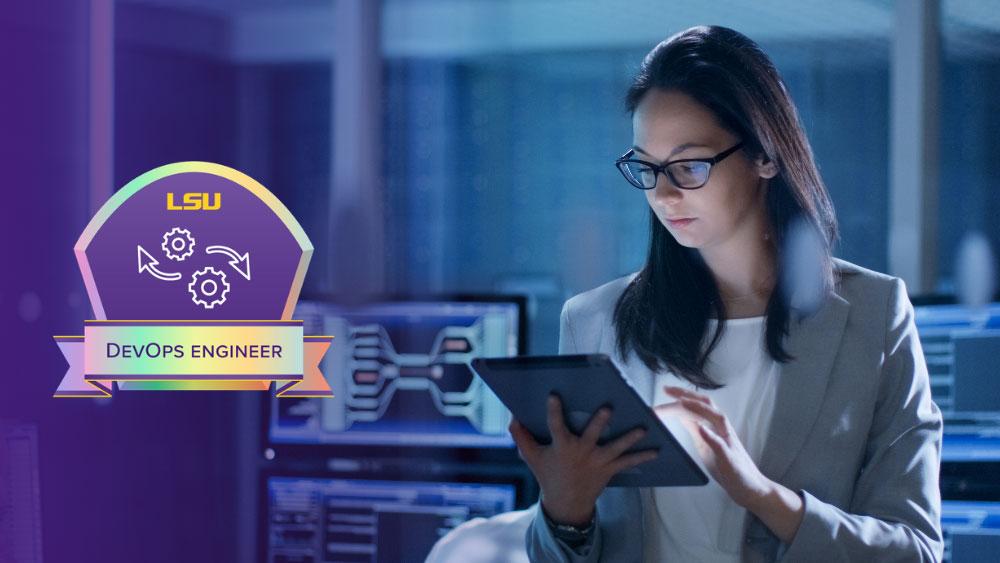 DevOps engineer looking at her iPad