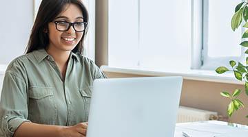 Facebook marketer working at her desk