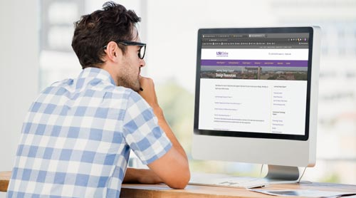 Man viewing the Getting Started with Your Course webpage