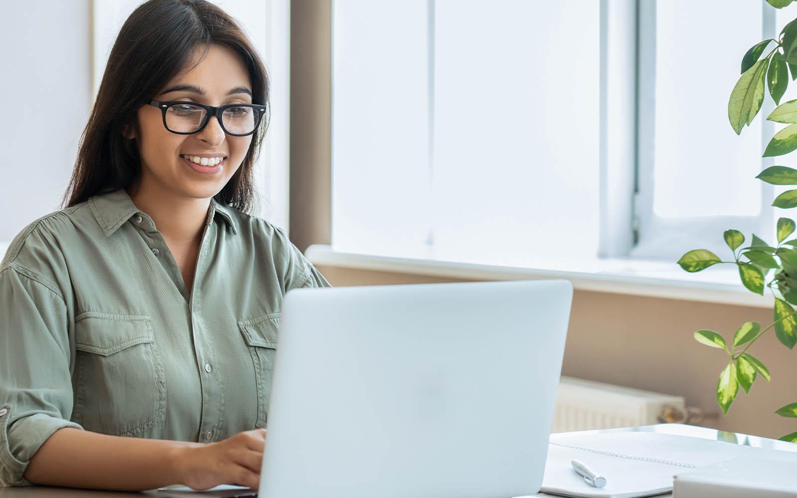 Digital marketer working at her desk