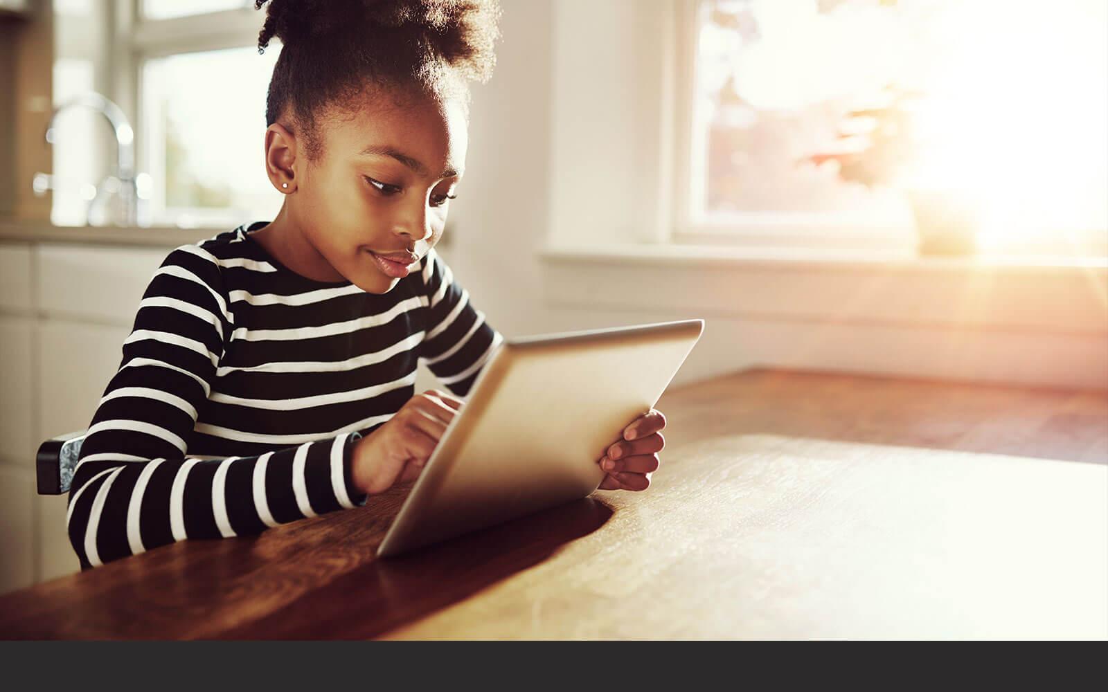 Girl using her iPad
