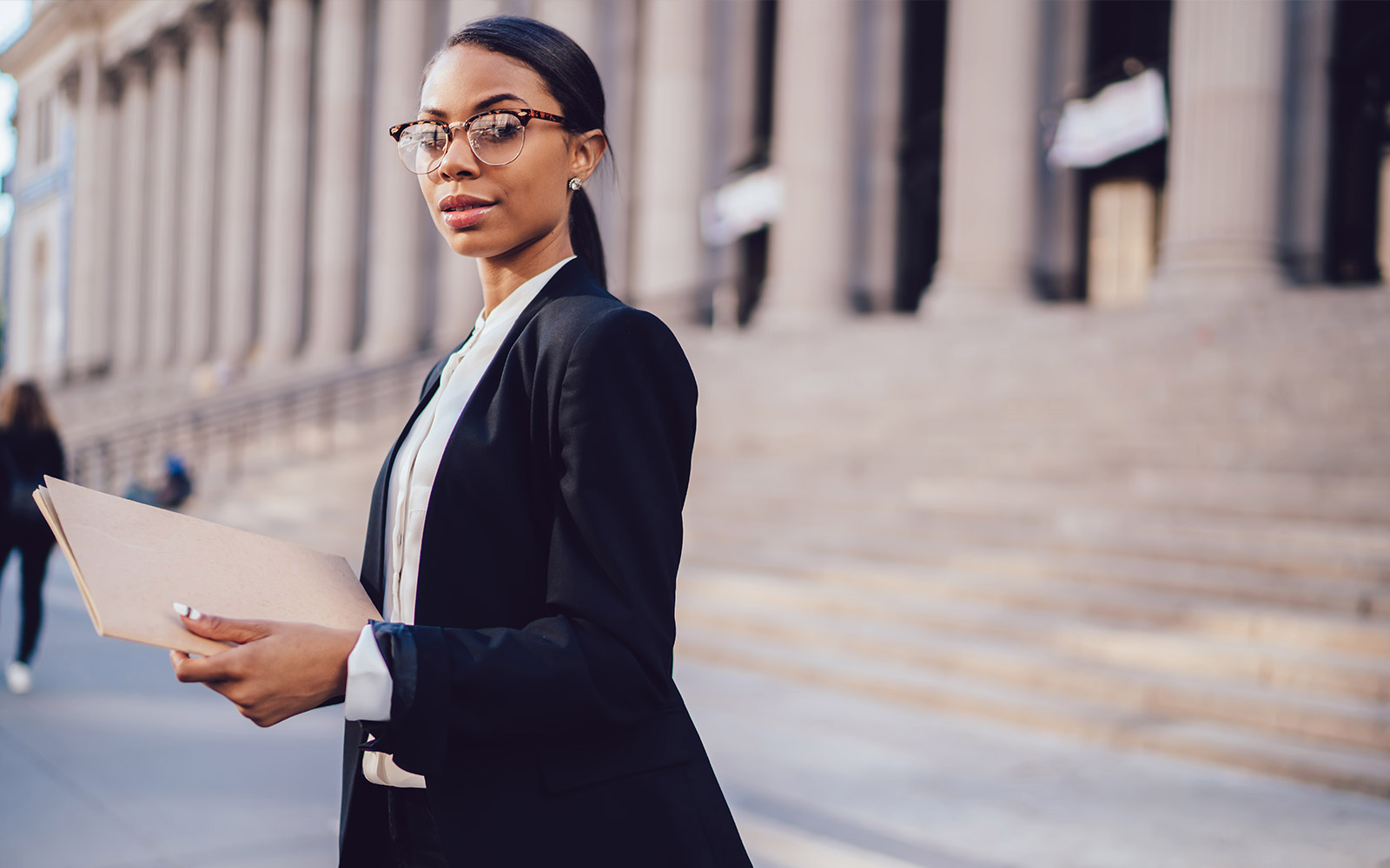Woman criminal justice professional outside of legal proceedings