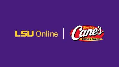Raising Cane's logo and LSU Online logo