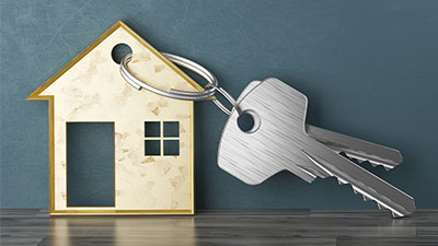 Real Estate Image of House Shape and Key