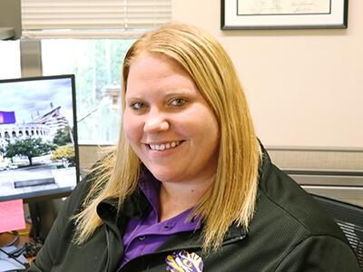 Courtney Kirschner at her desk