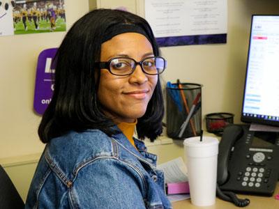 Jasmine Walker at her desk