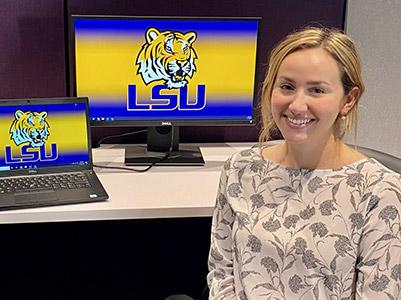 Jessica Triplett at her desk