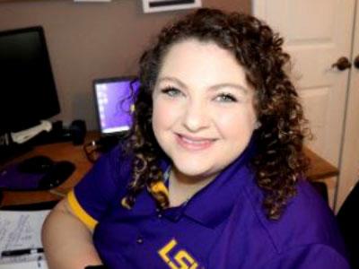 Kristen Boudreaux at her desk