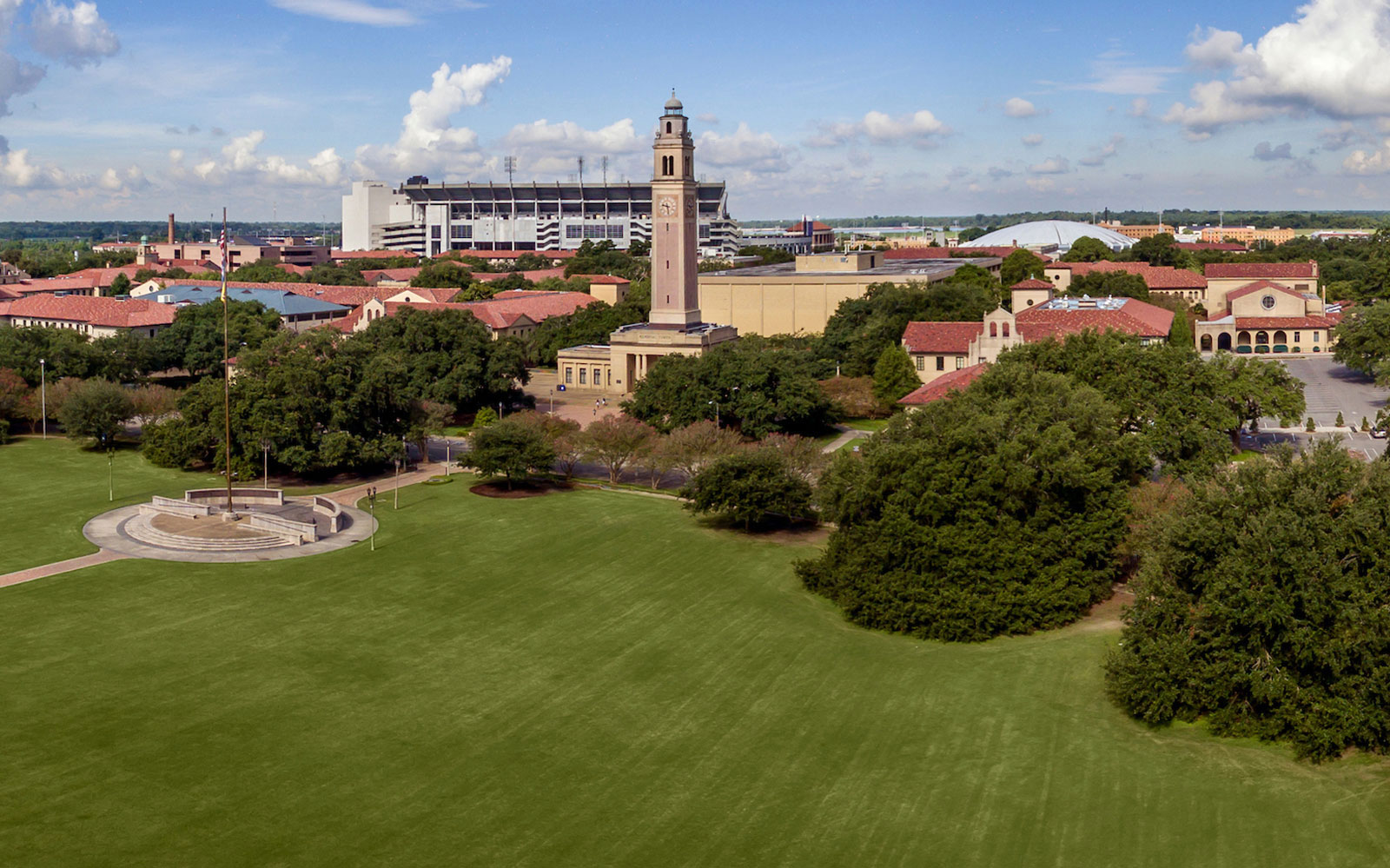 Drone photo view of the LSU campuses
